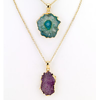 Agate Stone Pendant Long Necklace