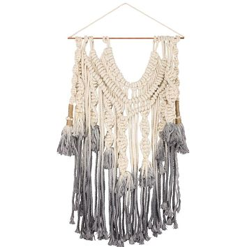 Macrame Large Swag Dip-Dye Boho Wall Decor in Gray Ombre