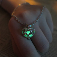 Green glow legend of zelda necklace heart zelda heart necklace zelda heart piece necklace pendant zelda heart pendant