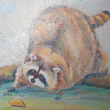 "Original Custom Impasto Oil Painting ""Raccoon and cookie"" Still Life Wall Decor Animal Pet Portrait Racoon Fine Art Photo to Painting Funny"