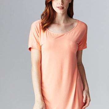 Short Sleeve Cuff Tee in Peach