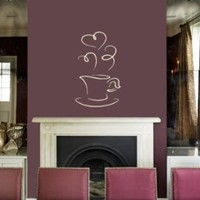 Housewares Vinyl Decal Flavored Coffee Cup with Hearts Home Wall Art Decor Removable Stylish Sticker Mural Unique Design for Room Bakery Cafe Kitchen
