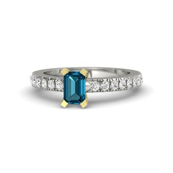 Emerald-Cut London Blue Topaz Palladium Ring with White Sapphire