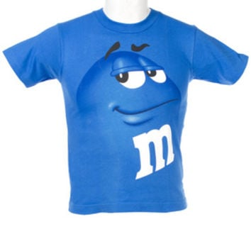M&M's Candy Character Face T-Shirt - Youth - Blue - Small
