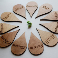 Custom Alder Laser Cut Herb Markers  by AFlutteredCollection