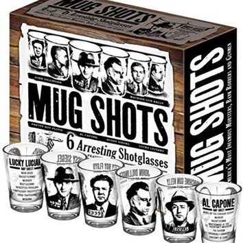 Mug Shots - 6 Piece Shot Glass Set of Famous Gangster Mugshots - Comes in a Colorful Gift Box