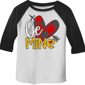 Kids Valentine's Day T Shirt Be Mine Shirts Plaid Heart Valentines Shirts Arrow Tee Toddler Boy's Girl's 3/4 Sleeve Raglan