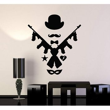 Vinyl Wall Decal Mafia Art Chicago Style Hat Tommy Gun Mask Stickers Unique Gift (ig4876)