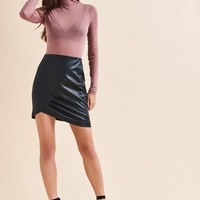 High Rise Faux Leather Skirt