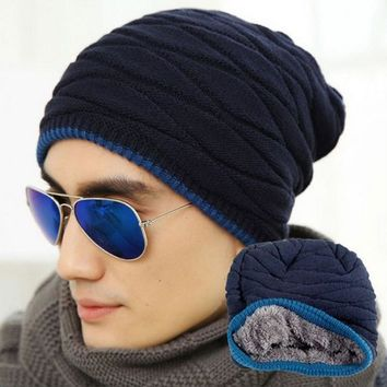 Unisex Autumn Fashion Beanies Knit Beani Hat Winter Hat Men Women Solid Color Elastic Hip-Hop Cap Two Styles