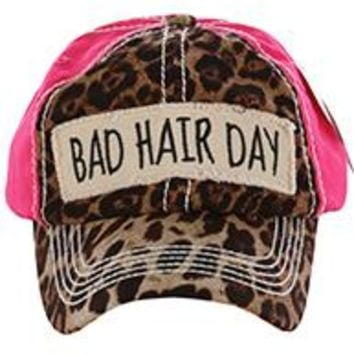 stylish BAD HAIR DAY LEOPARD & PINK PRINT HAT Baseball CAP