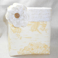 Lovely Yellow Toile Fabric Basket With Script Fabric Lining and Detachable Fabric Flower Pin