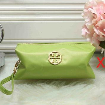 Tory Burch Fashionable Women Zipper Toiletry Handbag Cosmetic Bag Purse Wallet Green