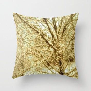 Trees, Bronze, Sepia, Winter, Nature-Decorative Throw Pillow Cover, 3 Sizes Available - Home, Office, Newlywed Gift - Made To Order - BW#16