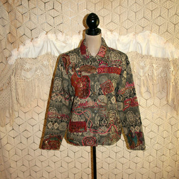 Womens Jacket Boxy Cotton Tapestry Embellished Embroidered Hippie Jacket Medium India Hippie Clothing Coldwater Creek Vintage Clothing