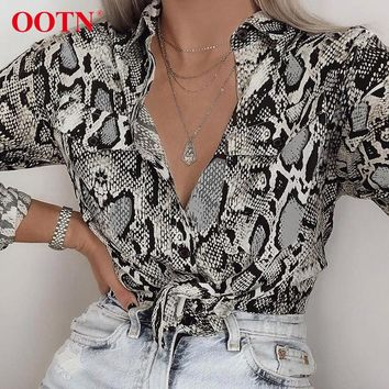 OOTN Sexy Snake Skin Print Blouses And Tops Female Shirt Womens Long Sleeve 2018 Autumn Blusas Pocket Button Down Vintage Blouse