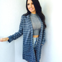 Checkered Blazer -Grey