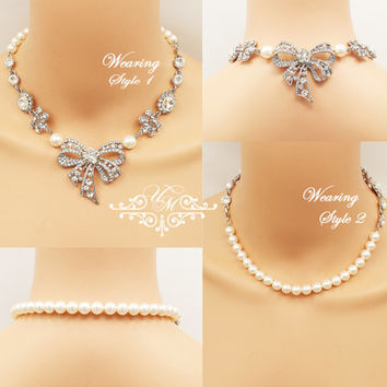 Two Style Necklace Wedding Jewelry Single Strand Swarovski Pearl Necklace Bridal Necklace Bridesmaids Necklace Rhinestone Bow Necklace - MEI