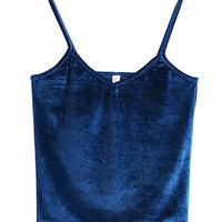Blue V-neck Velvet Cropped Cami Top