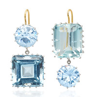 18K White Gold, Synthetic Sapphire and Aquamarine Earrings | Moda Operandi