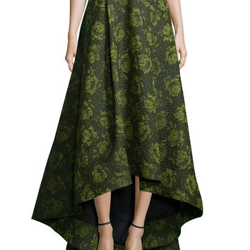 Floral Jacquard High-Low Skirt, Size: