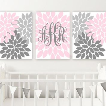 PINK GRAY Nursery Decor, Girl Monogram Wall Art, Baby Girl Nursery Wall Decor, Pink Gray Bedroom Flowers, Monogram Canvas or Print Set of 3