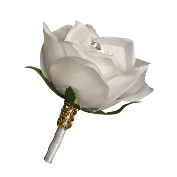 Rose Boutonniere: White Rose white stem gold bling ribbon-Pin included
