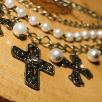 Chunky Pearl and Gold Cross Necklace