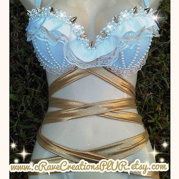 White and Gold Design with Spikes, Pearls, Lace, and More <3 Custom Rave Bra Bling EDC Ultra with Optional Torso Wraps