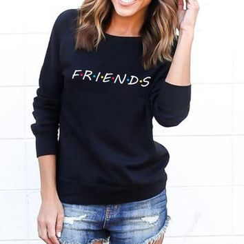 Women Friends Sweatshirt Casual Winter Autumn Warm Hoodies Letter Print Pullover