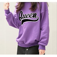 "Fashion Women ""Queen"" Letter Casual Long Sleeve Long Pants Sport Running Two Piece Set"