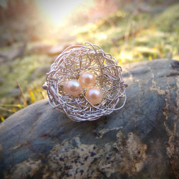 """Small Intricate Woven Silver Wire Bird's Nest With Light Pink """"Eggs"""" Woodland Ring - Fits Size 7 or 7.5"""