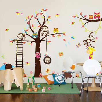 [Fundecor] DIY cartoon happy monkey owl tree wall decals vinyl wall stickers for kids rooms baby bedroom home decor