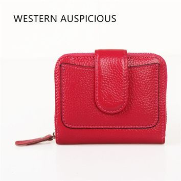WESTERN AUSPICIOUS Women Wallets Zipper And Hasp Cow Leather Outside + PU Leahter Inside Female Purse Large Capacity Billetera