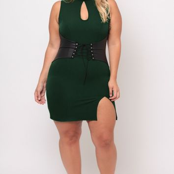 Plus Size Waist Snatcher Bodycon Dress - Hunter Green