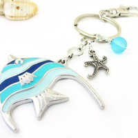 Fish Keychain, Starfish Keychain, Beach Keychain, Angel Fish Chain, Car Accessory, Tropical Keychain