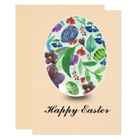 watercolor flowers and eggs Easter card