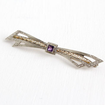 Antique Art Deco 10K White and Yellow Gold Simulated Amethyst Pin- Vintage 1940s Late Art Deco Filigree Bow Brooch Jewelry