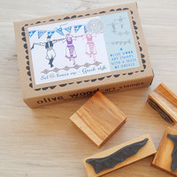 Knees Up Greek Style Olive Wood Stamp Box 3 stamps set