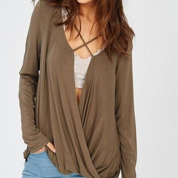 Mayfair Cross Front Surplice Top - Olive