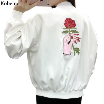 Rose Embroidery Women's Jackets Long Sleeve Stand Neck Abrigos Mujer Harajuku Chaquetas 2017 Spring Plus Size Boyfriend Jaqueta