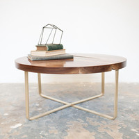 Solid Walnut Table w/Brass Base by Dylan Design Co.
