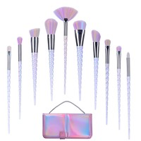 Lospu HY 10pcs Unicorn Makeup Brushes Set Professional Makeup Tools Cosmetic Powder Foundation Brush Eyeshadow Blusher with Travel Pouch