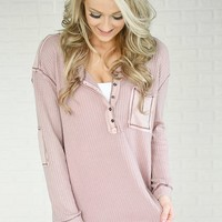 Mauve Elbow Patch Thermal Top