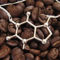 caffeine necklace - an elegant representation of your favorite molecule