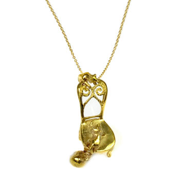 Whimsical Cats Brass Necklace