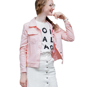 Button Front with Pockets Casual Long Sleeve Shirt in Pink