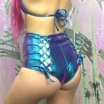 Mystic Neptune Lace-Back High-Waist Booty Shorts