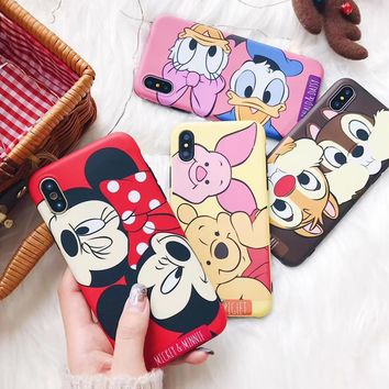 Cute Cartoon Mouse Mickey Minnie Case For iPhone 8 7 6 6S Plus X XS Cover Pooh Bear Pink Piglet Donald Duck Soft TPU Cover Funda