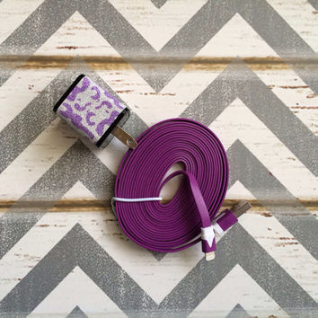 New Super Cute Purple Glitter Cheetah Print Dual USB Wall iphone Connector + 10ft Purple IPhone 4/4g/4s Cable Cord